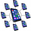 Network of Smart Phones with Apps for Communicating — Stock Photo