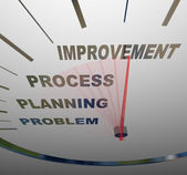 Snelheidsmeter - uitvoering van verandering voor verbetering — Stockfoto