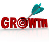 Growth - Arrow in Target Reaching Goal of Increase — Stock Photo