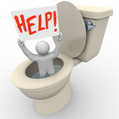 Man Stuck in Toilet Holding Help Sign - Emergency SOS — Stockfoto