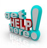 получить помощь здесь - решения службы поддержки клиентов — Стоковое фото