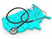Stetoscopio e la mappa degli stati uniti - assistenza sanitaria nazionale — Foto Stock