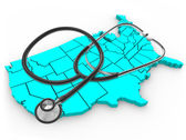 Stéthoscope et états-unis carte - service sanitaire national — Photo