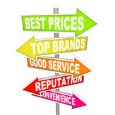 Store Advertisements on Arrow Signs - Unique Selling Points — Stock Photo
