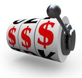 Segno del dollaro su ruote slot machine - gioco d'azzardo — Foto Stock