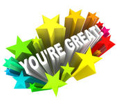 You're Great - Praise Words for Success — Stock Photo