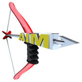 Aim - Word on Bow and Arrow — Stock Photo