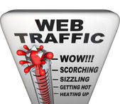 Web Traffic Thermometer - Popularity Increasing — Stock Photo