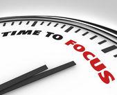 Tijd om focus - klok van concentratie — Stockfoto