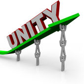 Unity - Team Works Together to Lift Growth Arrow for Success — Stock Photo