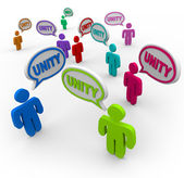 Unity - Talking in Speech Bubbles Pledging Teamwork — Stock Photo