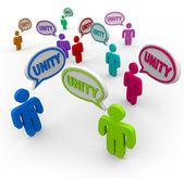 Unity - Talking in Speech Bubbles Pledging Teamwork — Stock Photo