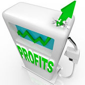 Profits Rising - Growth Arrow on Gas Pump — Stock Photo