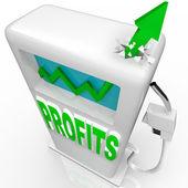 Profits Rising - Growth Arrow on Gas Pump — Stock Photo