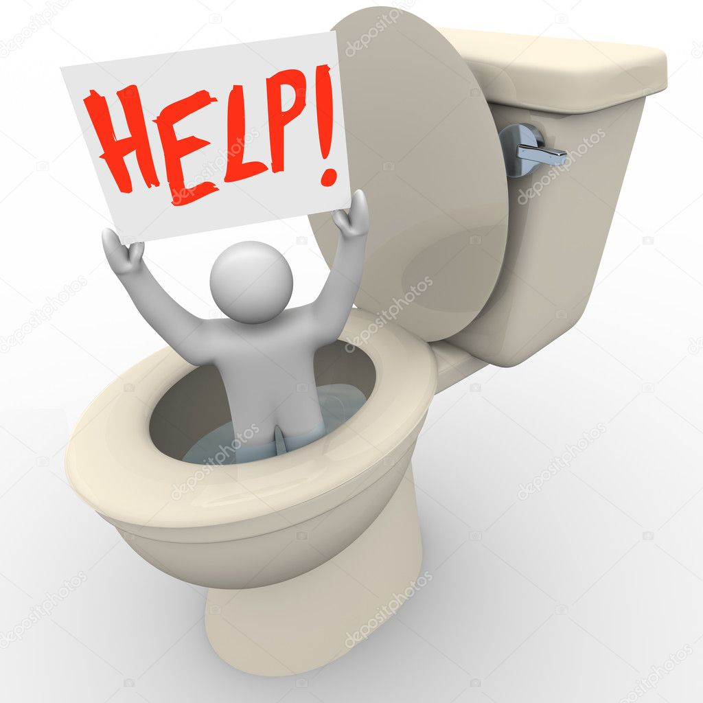 A man holding a sign reading Help is being flushed down the toilet and needs assistance to get him out of his emergency situation — Stock Photo #5541705