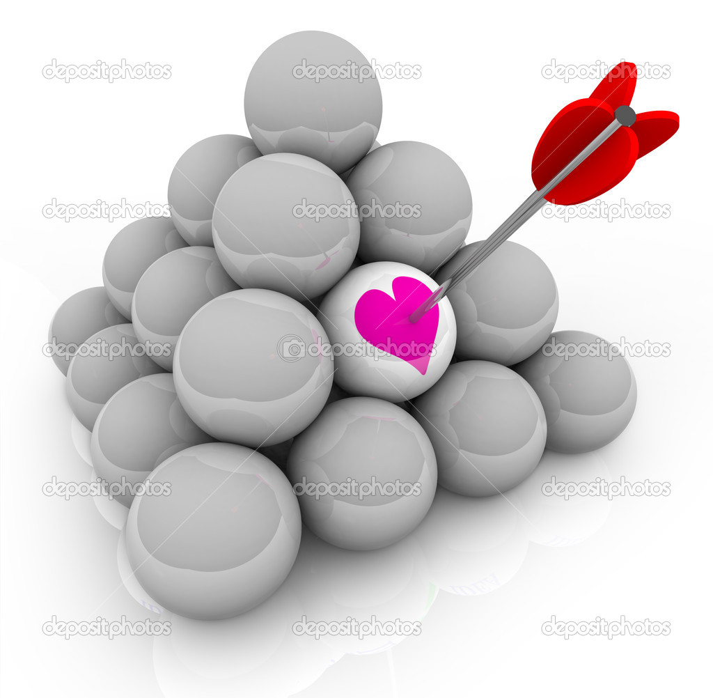 A pyramid of white balls with an arrow stuck in one that shows a pink heart, symbolizing the hunt for love and finding romance — Stock Photo #5541863