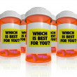 Many Prescription Bottles - Which Medicine is Best — Stock Photo #5777703