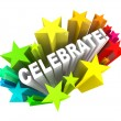 Celebrate - Word in Stars Shooting for Excitement — Foto Stock