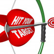 Stock Photo: Hit Your Target - Bow and Arrow Aimed at Bulls Eye