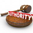 Authority - Judge Gavel and Word for Person in Command - Stock Photo