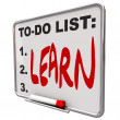 To-Do List - Learn - Dry Erase Board — Foto de Stock