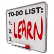To-Do List - Learn - Dry Erase Board — Stock Photo