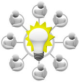 Brainstorming Solution to Problem Envision Light Bulb Idea — Stock Photo