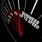 Business Up to Speed - Speedometer Measures Growth — Stock Photo
