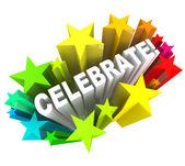 祝う - 単語の興奮のための撮影の星 — ストック写真