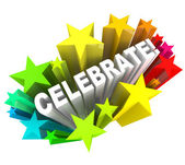 Celebrare - parola in stelle di fucilazione per eccitazione — Foto Stock