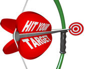 Hit Your Target - Bow and Arrow Aimed at Bulls Eye — Stock Photo