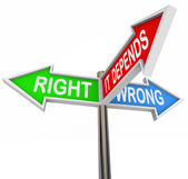 Right Wrong It Depends - 3 Colorful Arrow Signs — Stock Photo