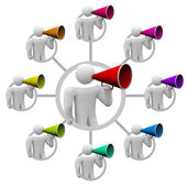 Bullhorn Spreading the Word in Communication Network — Stock Photo
