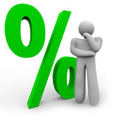 Percentage Sign - Thinking Man and Percent Symbol — Stock Photo