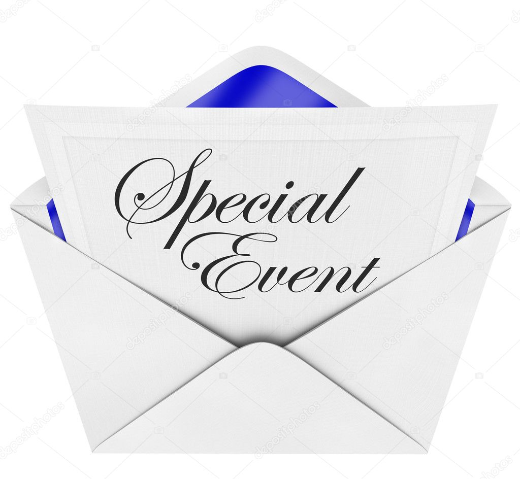 An opening envelope revealing a formal invitation to a special party or event, with the cursive hand-written words to invite you to the celebration — Stock Photo #5777722