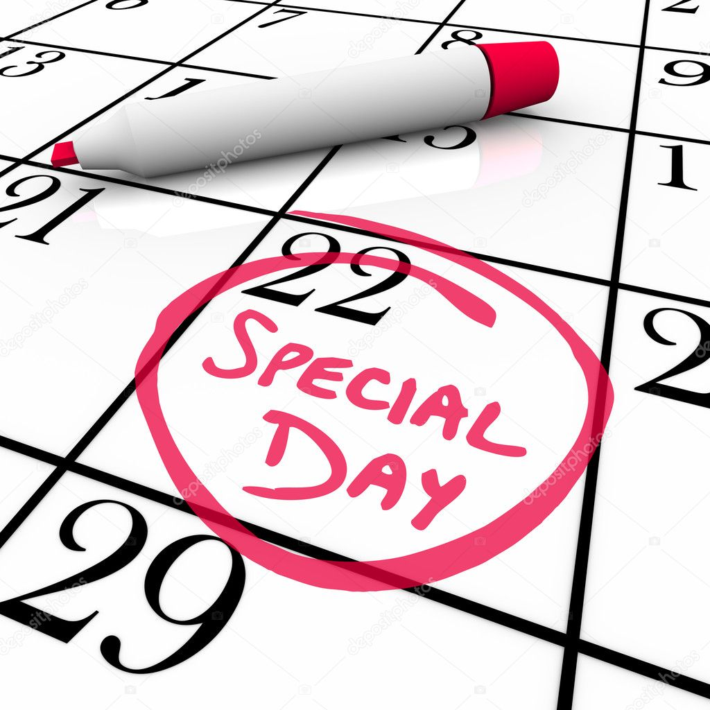 The words Special Day are circled on a white calendar with a red marker — Stock Photo #5777753