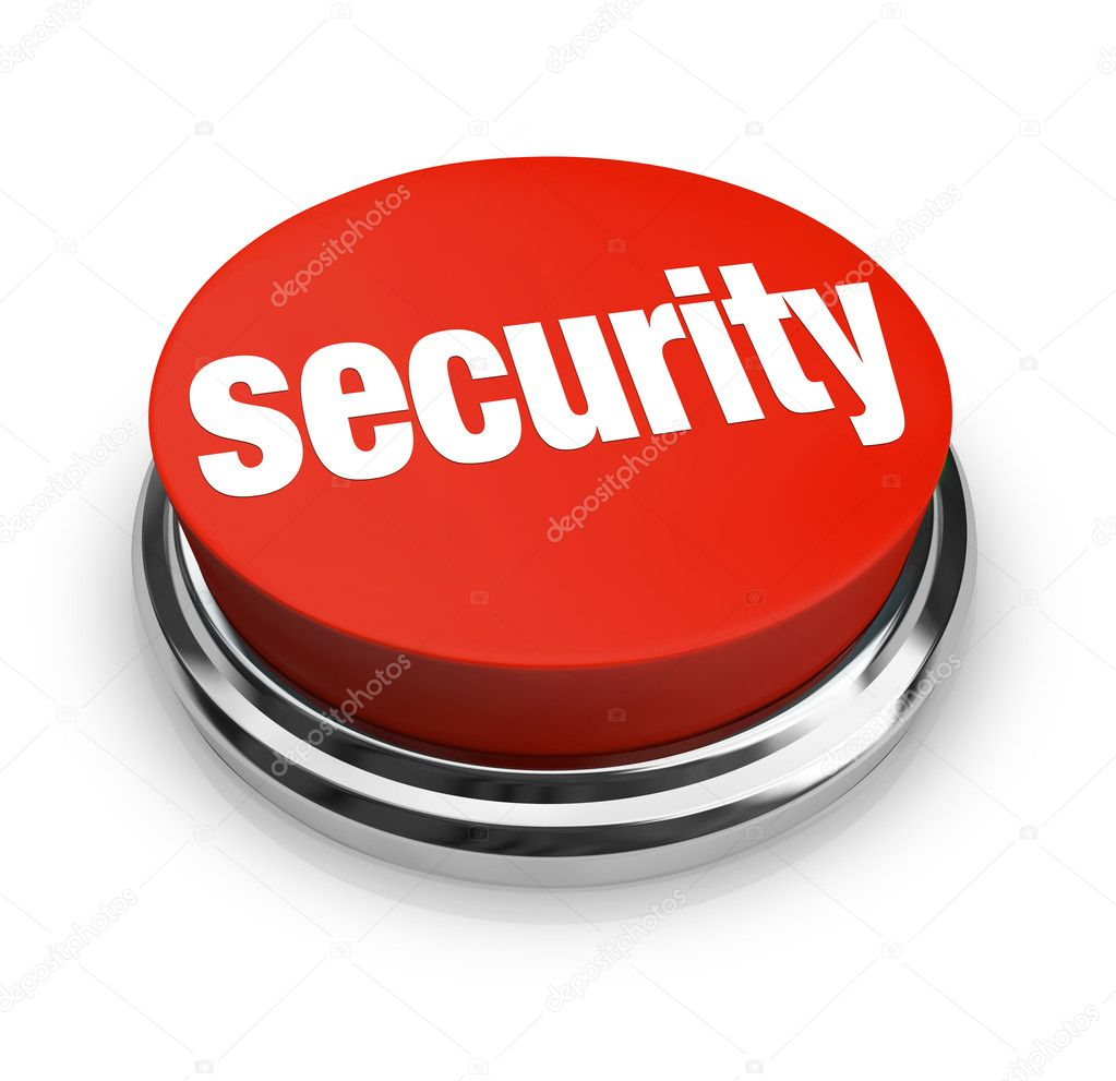 A red button with the word Security on it, symbolizing the desire to protect yourself from danger and crime — Stock Photo #5777774