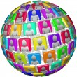 In Spherical Pattern - Global Social Network Sphere — Stock Photo