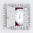 Open Door to Clock and Saving Time as Countdown Ticks Minutes — Foto Stock