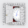 Open Door to Clock and Saving Time as Countdown Ticks Minutes — Stockfoto