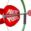 Practice Makes Perfect - Bow and Arrow Aimed at Bulls Eye — Stock Photo #5999196