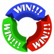 Win Circle with Words on Arrows - Lucky in Games and Life - Stock Photo