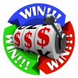 图库照片: Win Circle with Slot Machine Wheels and Money Signs