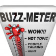 Stock Photo: Buzz Meter Thermometer Measures Popularity