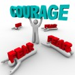Stock Photo: One Person with Courage Has Success, Others Afraid Fail