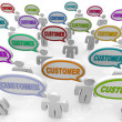 Customers - Large Group of Talking - Foto Stock
