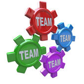 Teamwork - Four Gears Turning Together as Team — Stock Photo
