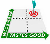 Good for You Tastes Great Matrix - Arrow and Target — Stock Photo