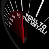Speedometer - Pedal to the Metal Faster to Reach Goal — Stock Photo