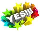 Yes Word and Stars - Agreement and Excitement — Stock Photo
